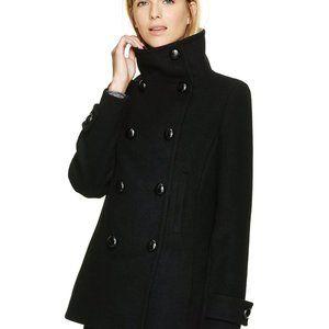 Aritzia Talula Babaton Howell Wool Black Pea Coat